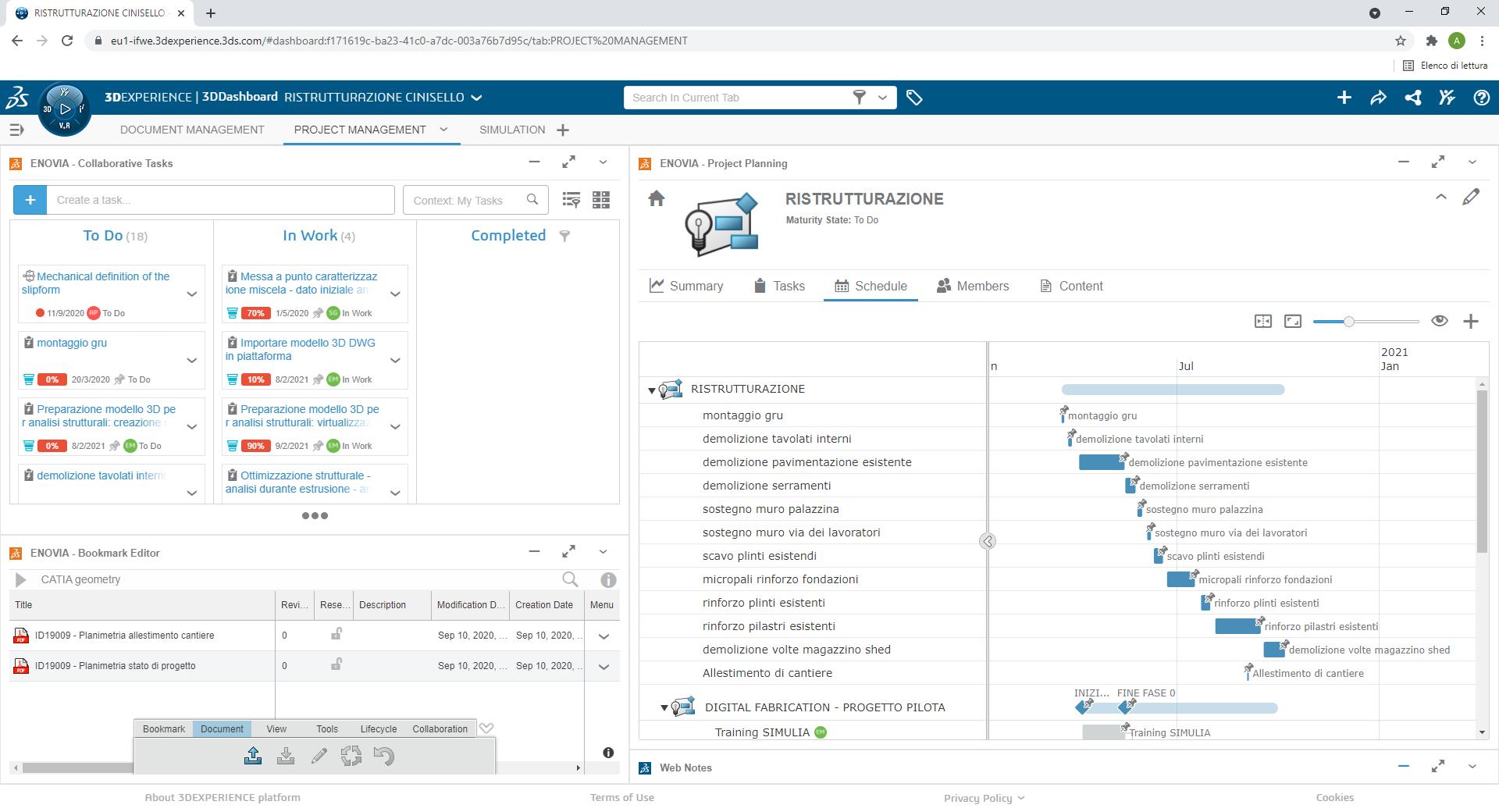 Una schermata di 3DEXPERIENCE Platform™ Cloud